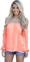UBetterM Womens Plus Size Off The Shoulder Chiffon Blouse Long Sleeve Flowy summer Top