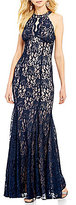 R & M Richards Mermaid Halter Keyhole Neck Two-Tone Lace Scalloped Hem Gown