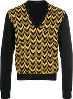 Prada patterned V-neck jumper