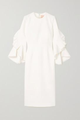 Roksanda Ardemia Tulle-trimmed Ruffled Crepe Dress - Ivory