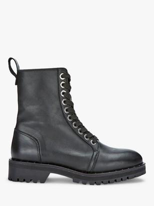 Mint Velvet Debbie Leather Biker Boots, Black