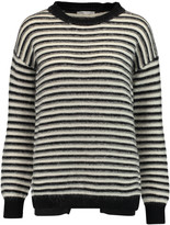 Rebecca Minkoff Worth wrap-effect striped textured-knit sweater