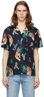 Bather Black Hawaiian Tiger Camp Shirt