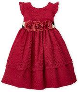 Laura Ashley Newborn Girls) Two-Piece Lace Tiered Dress & Bloomers Set