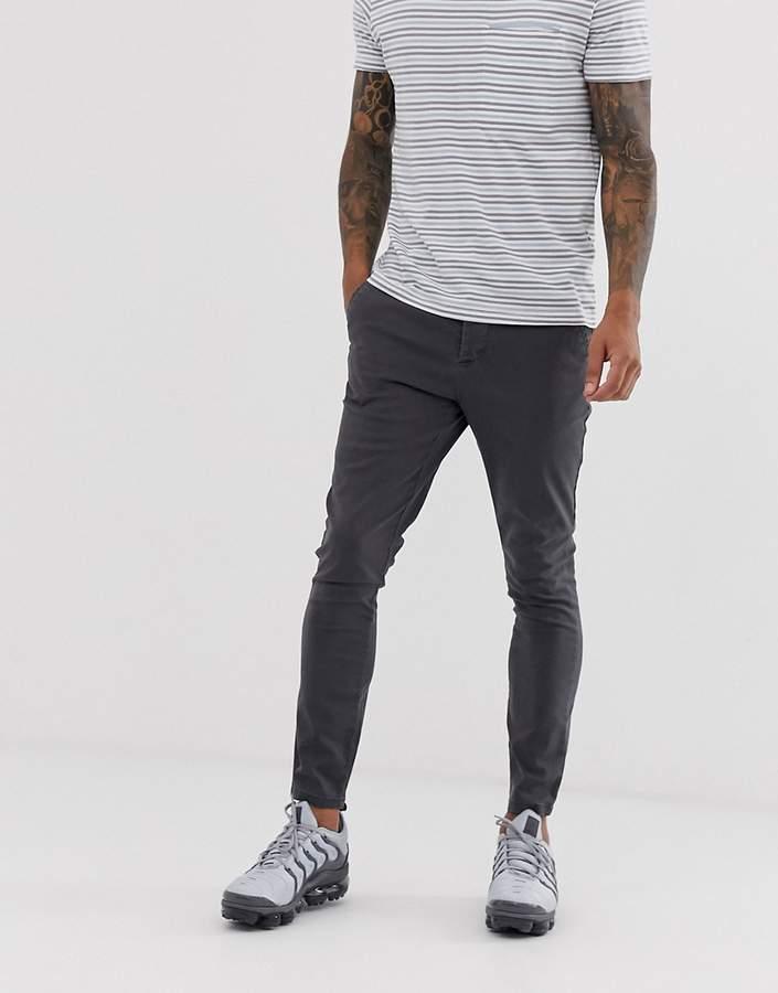 In Black Grazer Chinos Design Washed Skinny Super Ankle TFKlc31J