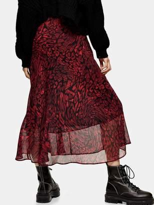 Topshop Warped Leo Godet Midi Skirt - Red