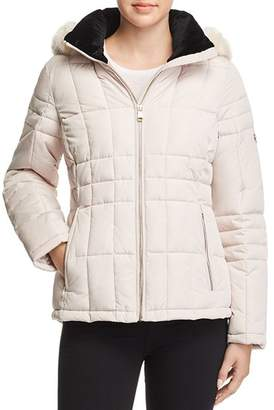 Calvin Klein Hooded Faux Fur Trim Coat
