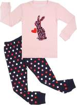 BOOPH Girls Pajamas 2 Piece Long Sleeve Pajama Set 100% Cotton sleepwear 2T-7T (5T, bunny)