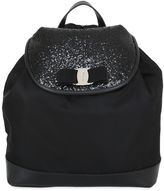 Salvatore Ferragamo Glittered Leather & Nylon Backpack