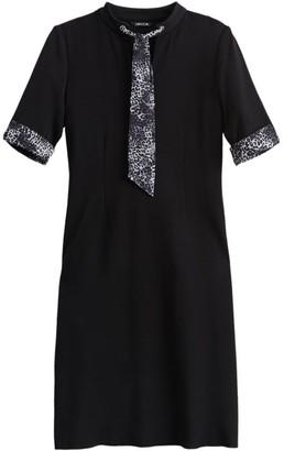 Misook Animal Print Scarf Trim Knit Dress