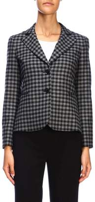 Moschino Blazer Single-breasted Jacket With Back Bow And Checked Pattern