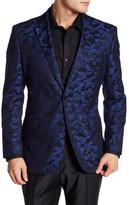 English Laundry Trim Fit Blue Printed Two Button Notch Lapel Sport Coat