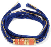 Aurelie Bidermann Takayama Gold-plated, Coral And Cotton Bracelet - Royal blue