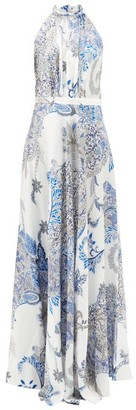 Raquel Diniz Giovanna Floral-print Silk-satin Maxi Dress - Womens - Blue White