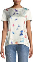 Escada Crewneck Short-Sleeve Sequin Floral-Print Tee