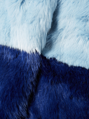 Alice + Olivia Damaris Faux Fur Colorblocked Coat