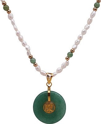One Kings Lane Vintage Pearl & Nephrite Pendant Necklace - Thanks for the Memories