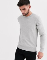 Bench Knitted crew neck sweater in gray marl