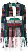 Sacai patchwork detail shirt dress