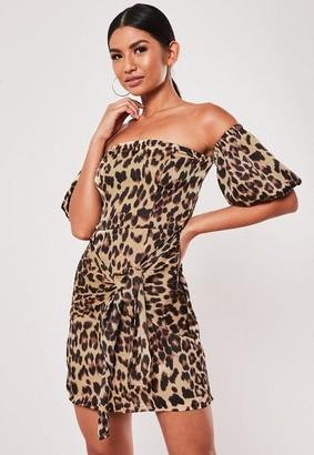 Missguided Brown Leopard Print Bardot Puff Sleeve Mini Dress