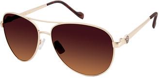Jessica Simpson Collection Women's Sunglasses GOLD - Goldtone & Tortoise Aviator Sunglasses