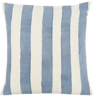 Summerill & Bishop - Hand-painted Striped Linen Cushion - Light Blue