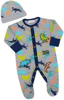 BABY TOWN Baby Boys Dinosaur Sleepsuit Hat Set ( To 9 Months) With Scratch Mittens