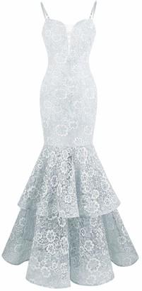 Angel Fashions Angel-fashions Women's Bubble Prom Dress Lace Spaghetti Strap Large Light Gray