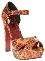 Iron Fist New Womens Multi Orange Koko Synthetic Shoes Platforms Buckle
