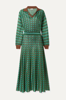Rixo Annie Houndstooth Knitted Midi Dress - Green