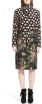Lanvin Tie Neck Floral Print Silk Blouse