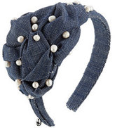 Masterpeace Denim Hair Band with Pearls