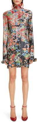 Givenchy Bloom Long Sleeve Plisse Minidress