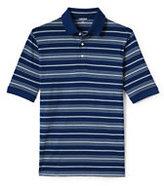 Lands' End Men's Short Sleeve Striped Supima Polo Shirt-Autumn Sunset