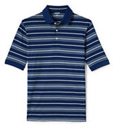 Lands' End Men's Tall Short Sleeve Striped Supima Polo Shirt-Bright Boreal Blue Stripe