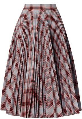 Calvin Klein Pleated Checked Twill Midi Skirt