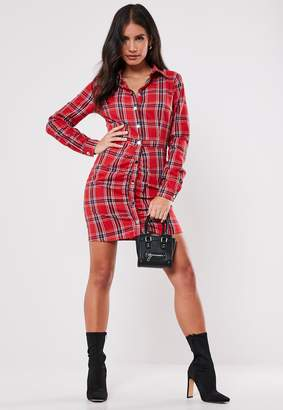 Missguided Red Ruched Check Shirt Dress