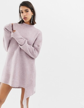Miss Sixty knitted logo dress with tie-Purple