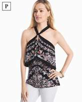 White House Black Market Petite Floral Printed Halter Top