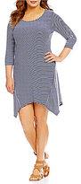 Moa Moa Plus 3/4 Sleeve Sharkbite Stripe Print Dress