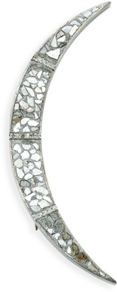 Shana Gulati Ozare Sterling Silver, Sliced Uncut Diamond & White Topaz Brooch