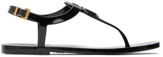 Valentino Black Garavani Rubber VLogo Flat Sandals