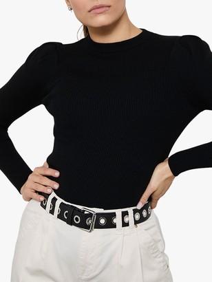 Mint Velvet Black Rib Puffed Sleeve Jumper, Black