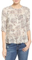 Lucky Brand Women's Button Back Ruffle Hem Print Top