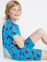 Marks and Spencer Cotton Printed Short Pyjamas with Stretch (1-16 Years)