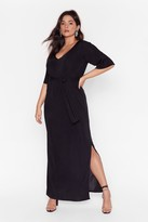 Nasty Gal Womens Slit's a Close Call Plus Maxi Dress - black - 16, Black