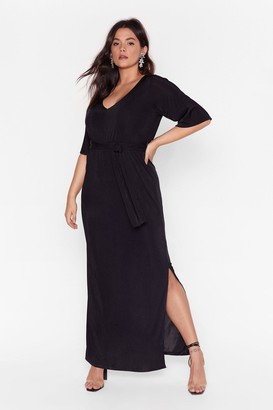 Nasty Gal Womens Slit's a Close Call Plus Maxi Dress - black - 16