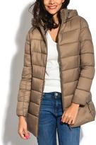 Beige Long Down Puffer Jacket