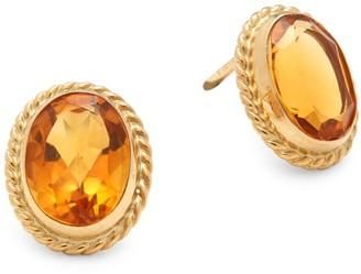 Saks Fifth Avenue Citrine & 14K Yellow Gold Twist Gallery Post-Back Stud Earrings