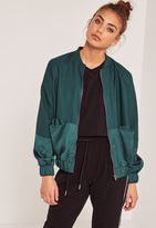 Missguided Satin Two Tone Bomber Jacket Green